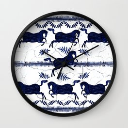 Ancient Greek Fresco - Navy Wall Clock