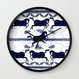 Ancient Greek Fresco - Navy Wall Clock