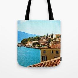 Limone Sul Garda Lake Garda Italy photo painting  Tote Bag