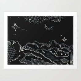 Grandfather Mountain NC Night Sketches Art Print