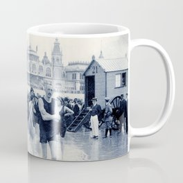 On the beach in 1900, history swimwear Coffee Mug