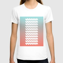 Chevron on Peach Echo and Limpet Shell Gradient  T-shirt