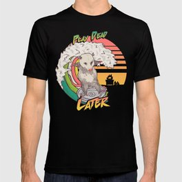 Play Dead Later - Funny Opossum T Shirt Rainbow Surfing On A Dumpster Can Lid Searching For Trash, Burning Dumpster Panda Summer Vibes Street Cats Possum T-shirt