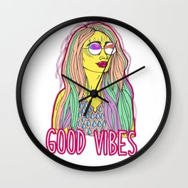 Good Vibes Woman Wall Clock