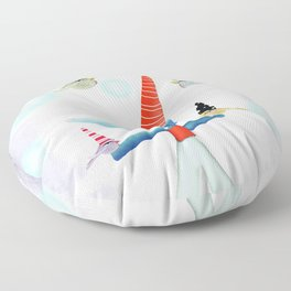 Delicious friendship birds and fox Floor Pillow