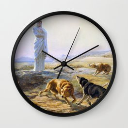 Briton Riviere - Pallas Athena and the herdsman's dogs - Digital Remastered Edition Wall Clock