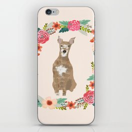 whippet floral wreath dog breed pure breed pet portrait iPhone Skin