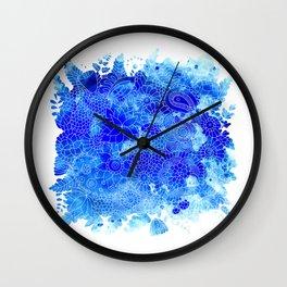 Blue Floral Pattern 02 Wall Clock