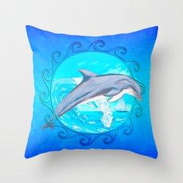 Dolphin Maori Sun Throw Pillow