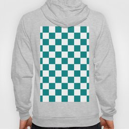 Checkered - White and Dark Cyan Hoody