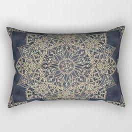 Elegant poinsettia flower and snowflakes mandala art Rectangular Pillow