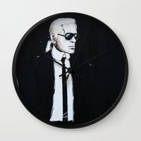 karl lagerfeld Wall Clocks featuring Karl Lagerfeld back in black by Alexis Olin
