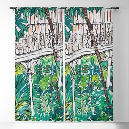 Kew Gardens Jungle Botanical Painting Greenhouse Blackout Curtain