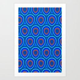 Boho Peacock - Classic Blue Art Print