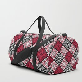 Red black patchwork Duffle Bag