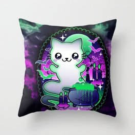 Spooky Ghost Cat Throw Pillow