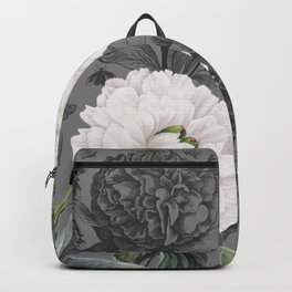 White Peony Grey Chic Backpack