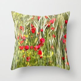 Red Corn Poppies Throw Pillow