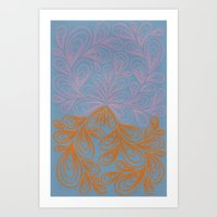 Beige and Orange Art Print