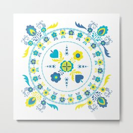 Folk Flowers in Yellow and Turquoise Metal Print