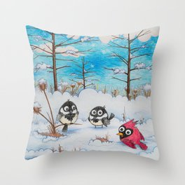 Winter: Two Chickadees and a Cardinal Throw Pillow