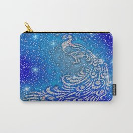 Sparkling Blue & White Peacock Carry-All Pouch