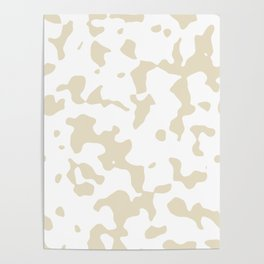 Large Spots - White and Pearl Brown Poster