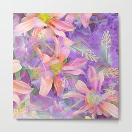 blooming pink daisy flower with purple flower background Metal Print