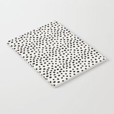 Preppy brushstroke free polka dots black and white spots dots dalmation animal spots design minimal Notebook