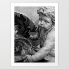 The Haunted Cherub. Art Print