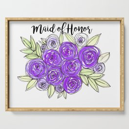 Maid Of Honor Wedding Bridal Purple Violet Lavender Roses Watercolor Serving Tray