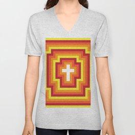 Technicolour Cross - Orange Unisex V-Neck