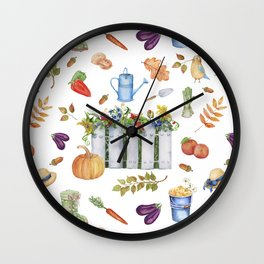 Watercolor seamless pattern of an autumn garden on a white background Wall Clock