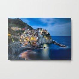 Cliffside Town at Night, Manarola, Liguria, Italy. Metal Print