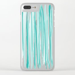 Mint watercolor stripes pattern Clear iPhone Case