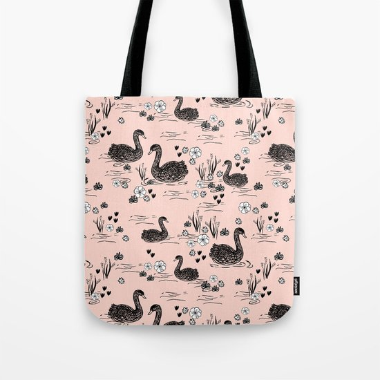 Swans painting cute girly trend cell phone case with swans pattern florals hand painted blush Tote Bag