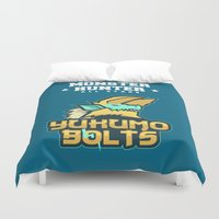 monster hunter Duvet Covers featuring Monster Hunter All Stars - The Yukumo Bolts by Bleached ink