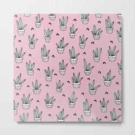 Soft pink pastel succulent home garden illustration pattern design Metal Print