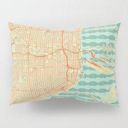 Miami Map Retro Pillow Sham