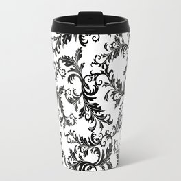 Vintage stylish black white elegant floral damask Travel Mug