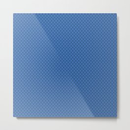 Azure Blue Scales Pattern Metal Print