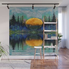 SURREAL RISING GOLDEN MOON BLUE REFLECTIONS Wall Mural