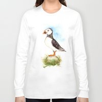puffin Long Sleeve T-shirts featuring Puffin on a Rock by Goosi