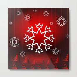 Xmas Snowflake with Red tipi Metal Print