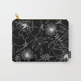 Black Peony Blooms Modern Floral Print in Black and White Carry-All Pouch