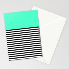 STRIPE COLORBLOCK {MINT/TEAL} Stationery Cards