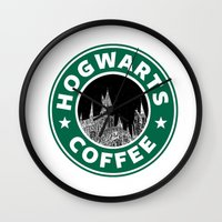 hogwarts Wall Clocks featuring Hogwarts Coffee by Beautiful Bibliophile's Boutique