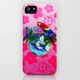 Island Time Surfing Pink Hibiscus iPhone Case