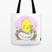 lemongrab Tote Bags featuring Earl of Lemongrab Tribute by Sonia Lazo