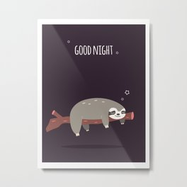 Sloth card - good night Metal Print